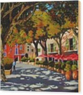 Mid-day Shade In The Village Wood Print