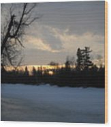 Mid March Sunrise Over Mississippi River Wood Print