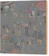Middelkerke Umbrellas Wood Print
