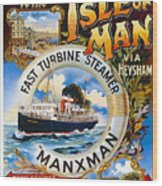 Midland Railway, Steam Boat, Isle Of Man, Poster Wood Print