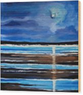 Midnight At The Beach Wood Print