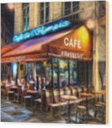 Midnight At The Brasserie Wood Print