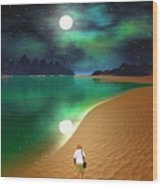 Midnight Beach Walk - Sea Of Cortezz Wood Print