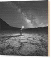 Midnight Explorer At Badwater Basin Bw Wood Print