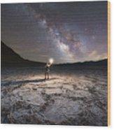 Midnight Explorer At Badwater Basin  Wood Print