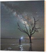 Midnight Explorer At Botany Bay Beach Wood Print