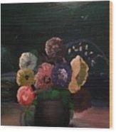 Midnight Flower Wood Print