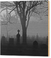 Midnight Graveyard Fog Wood Print