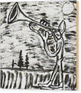 Midnight Horn Wood Print