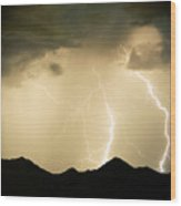 Midnight Lightning Storm Wood Print