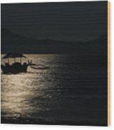 Midnight Sailing Wood Print
