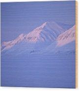 Midnight Sunset On Polar Mountains Wood Print