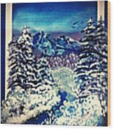 Midnight Winter Mountain Wood Print