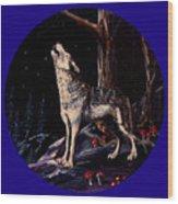 Midnight Wolf Wood Print