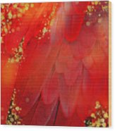 Midsummer Magik Fantasy Abstract Red Feathers, Gold Sparkles Wood Print
