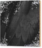 Midsummer Magik Quicksilver, Diamonds, Abstract Feathers, Silver Sparkles Wood Print