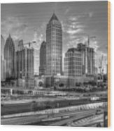 Midtown Atlanta Dusk B W Atlanta Construction Art Wood Print
