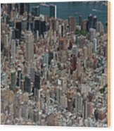 Midtown East Manhattan Skyline Aerial   Wood Print