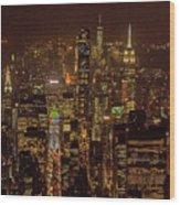 Midtown Manhattan Skyline Aerial At Night Wood Print