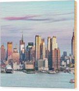 Midtown Manhattan Skyline At Sunset, New York City, Usa Wood Print