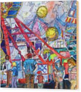 Midway Amusement Rides Wood Print