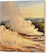 Midway Geyser Basin Steamy Sunrise Wood Print