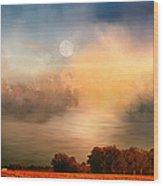 Midwest Harvest Moon Wood Print