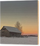 Midwinter Sunset On The Fields Wood Print