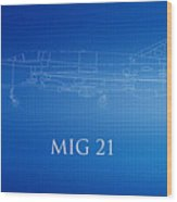 Mig 21 Blueprint Wood Print