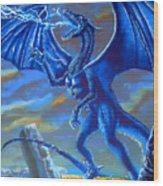 Mighty Blue Wood Print