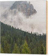 Mighty Dolomite Peaking Through The Clouds Wood Print