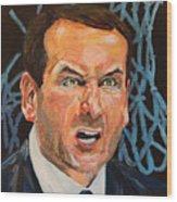 Mike Krzyzewski Aka Coach K Portrait Wood Print