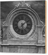 Milan Clock In Black And White Wood Print