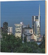 Milan Skyline By Night, Italy Wood Print