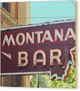 Miles City, Montana - Bar Neon Wood Print
