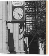 Miles City, Montana - Downtown Clock Bw Wood Print