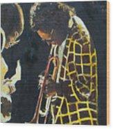 Miles Davis And A Guitar Player  Wood Print