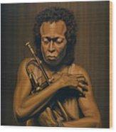 Miles Davis Painting Wood Print