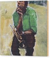 Miles Davis With Green Shirt Wood Print