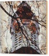 Milford Clock Tower Vintage Wood Print by Janine Riley