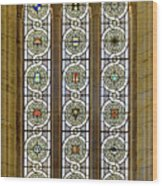 Military Insignia On Stained Glass - Meuse Argonne - East Wood Print