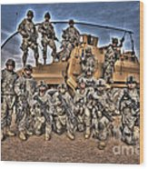 Military Police Pose For This Hdr Image Wood Print