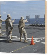Military Policemen Train Wood Print by Stocktrek Images