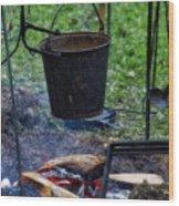 Military Revolutionary War Campfire Vertical Wood Print