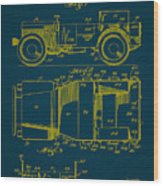 Military Vehicle Body Patent Drawing 1a Wood Print