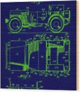 Military Vehicle Body Patent Drawing 1e Wood Print