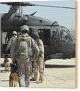 Military Working Dog Handlers Board Wood Print