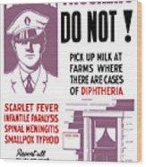 Vintage Milk Trucker Fda Warning  Wood Print