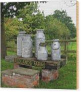 Milkcans Wiltshire England Wood Print