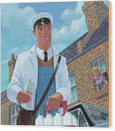Milkman On Daily Milk Delivery In Urban Old Street Wood Print